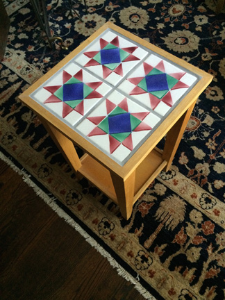 Amish Star Quilt Pattern Tile End Table